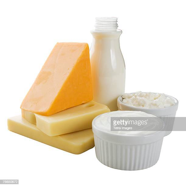 Close up of milk, cheese and dairy products