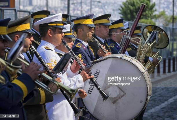 close up of miltary band playing at victory day in izmir. - emreturanphoto stock pictures, royalty-free photos & images