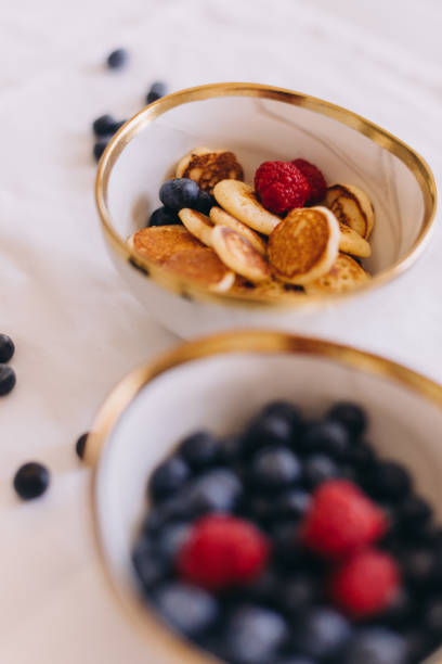 Close up of mini pancakes as snacks for healthy eating