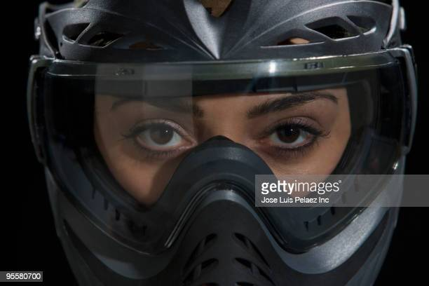 Close up of mixed race woman in helmet