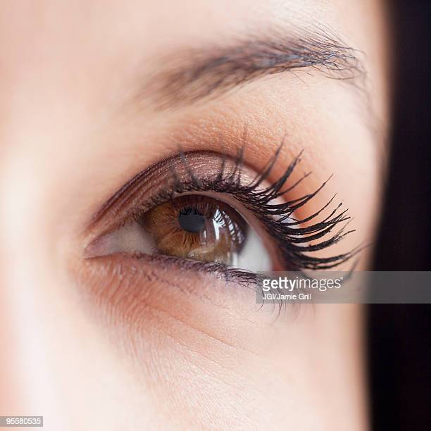 Close up of mixed race woman's eye