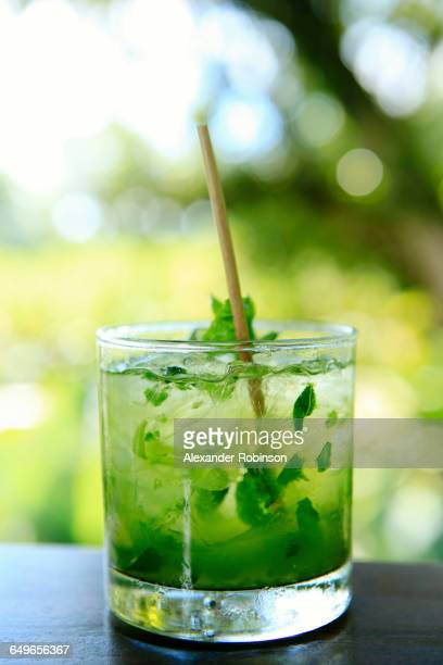 Close up of mojito cocktail in glass