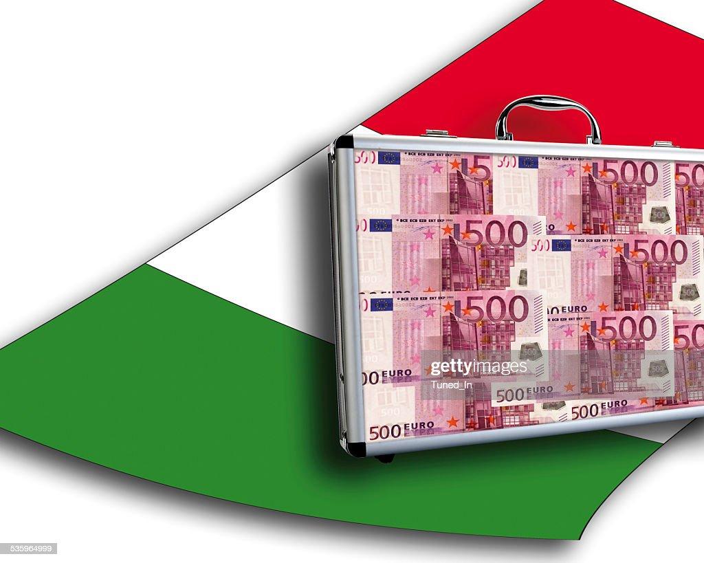Close up of money case on italian flag : Stock Photo