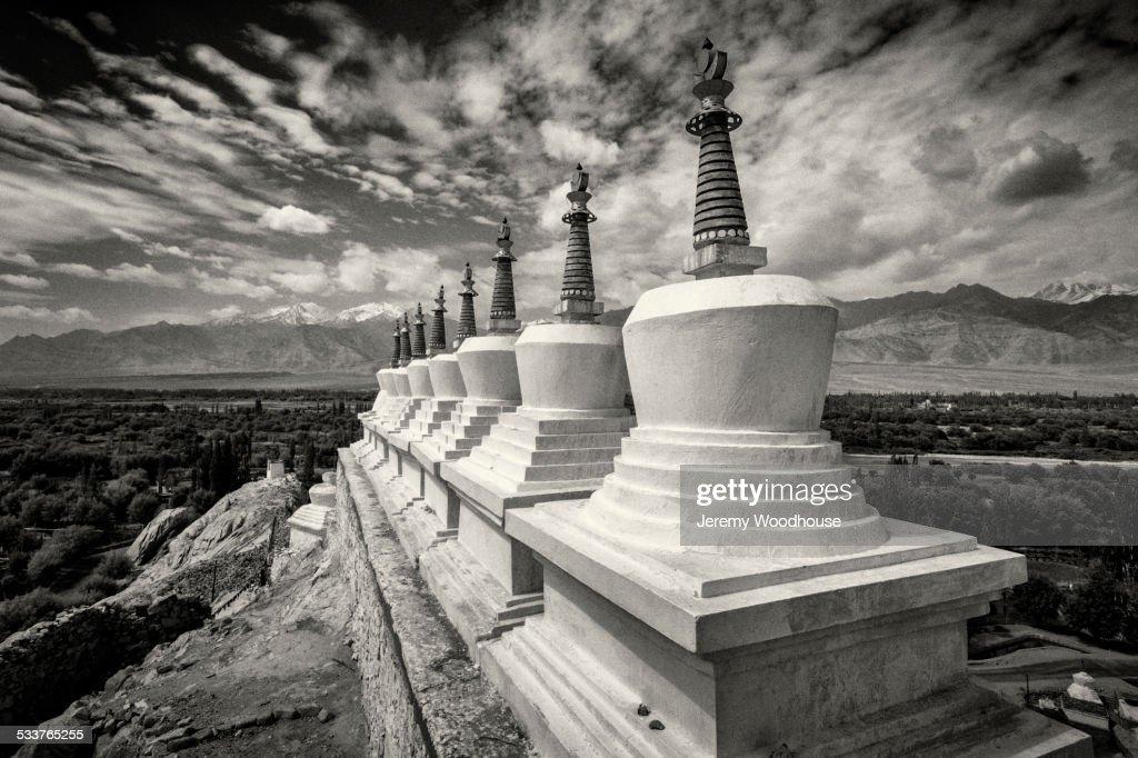 Close up of monuments in remote landscape, Leh, Ladakh, India : Foto stock