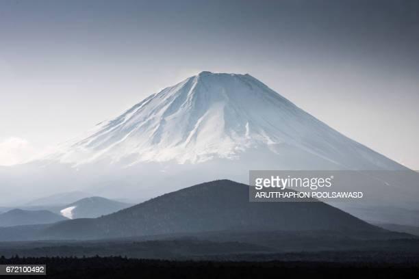 Close up of Mt.Fuji at sunset time