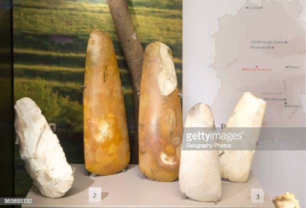 Close up of Neolithic axes in display case With permission of Wiltshire Museum Devizes England UK