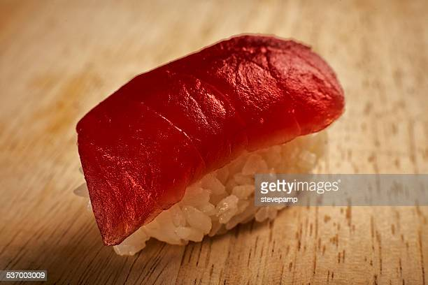 close up of nigiri sushi with tuna - nigiri stock pictures, royalty-free photos & images