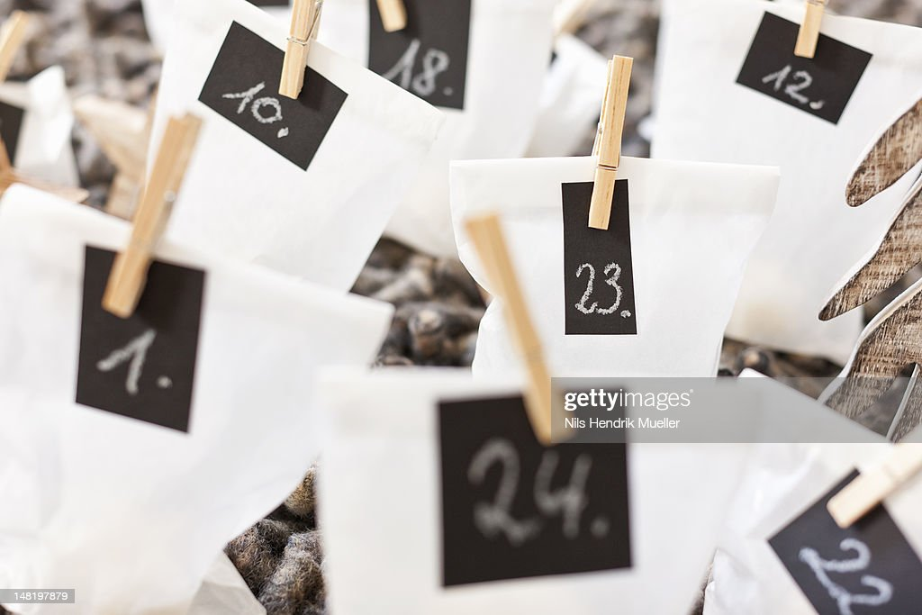Close up of numbered bags : Stock Photo