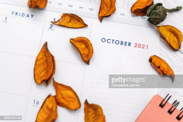 close up of october 2021 calendar - 2021 stock pictures, royalty-free photos & images