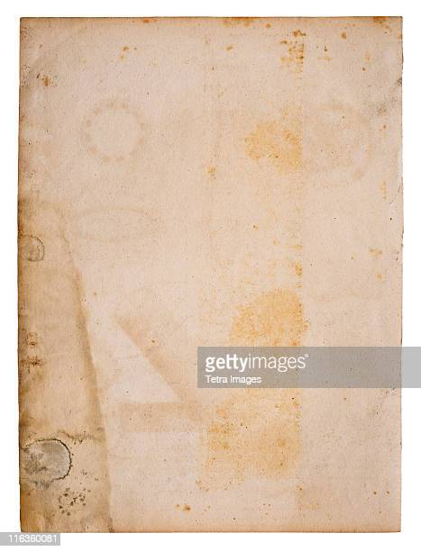 Close up of old and stained page