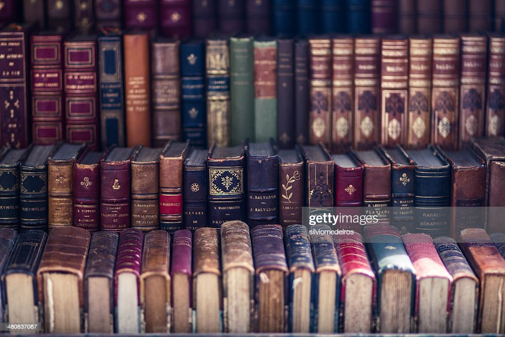 Close up of old antique books : Stock Photo