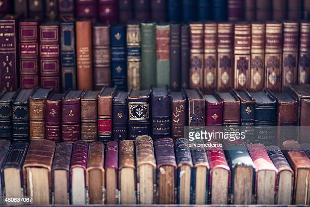 Close up of old antique books