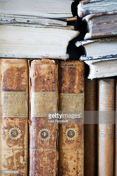 Close up of old leather bound books