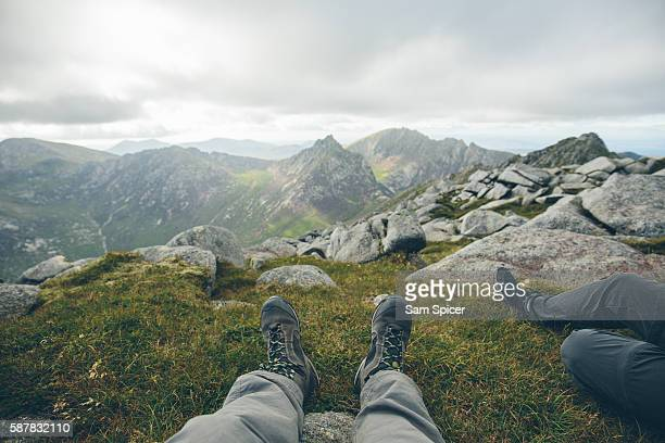 Close up of old trekking boots in Scottish highlands