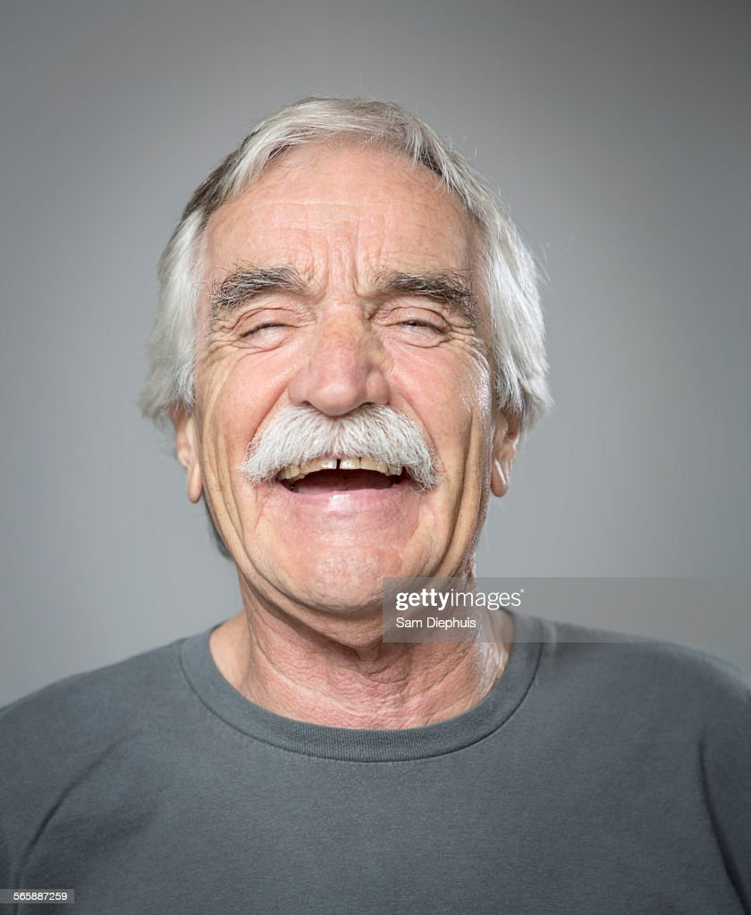 Close up of older Caucasian man laughing : Stock-Foto