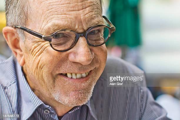 Close up of older mans smiling face