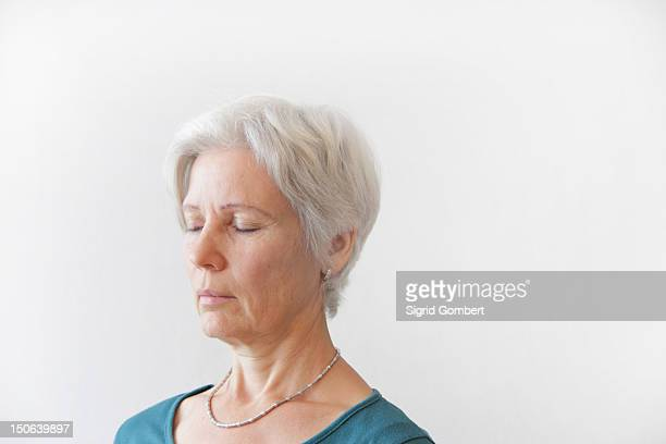 close up of older womans face - sigrid gombert stock pictures, royalty-free photos & images