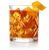close up of old-fashioned cocktail