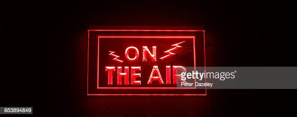 close up of on air sign - recording studio stock pictures, royalty-free photos & images