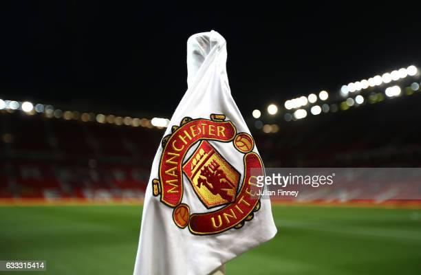 A close up of one of the corner flags inside the stadium prior to the Premier League match between Manchester United and Hull City at Old Trafford on...