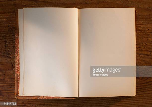 Close up of open book with white, empty pages