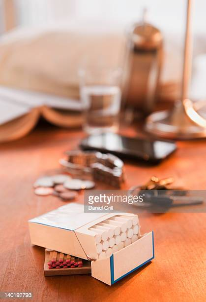 close up of open cigarette pack on table - cigarette pack stock pictures, royalty-free photos & images