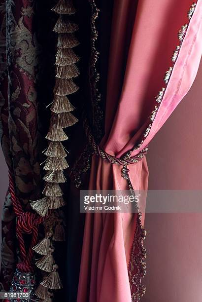 close up of open curtains - tassel stock pictures, royalty-free photos & images