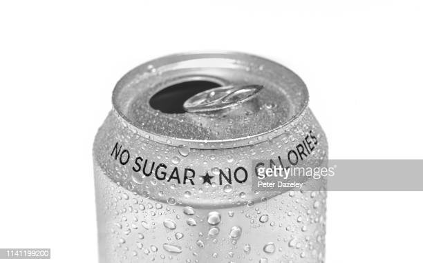 close up of open sugar free calorie free soda can - healthy eating stock pictures, royalty-free photos & images