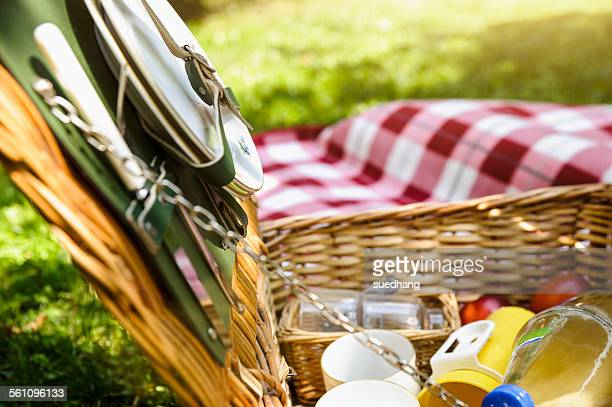 Close up of open wicker picnic basket