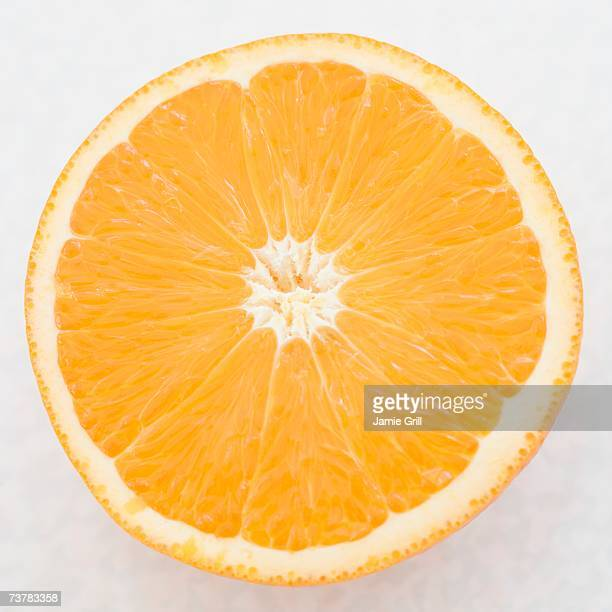 Close up of orange half