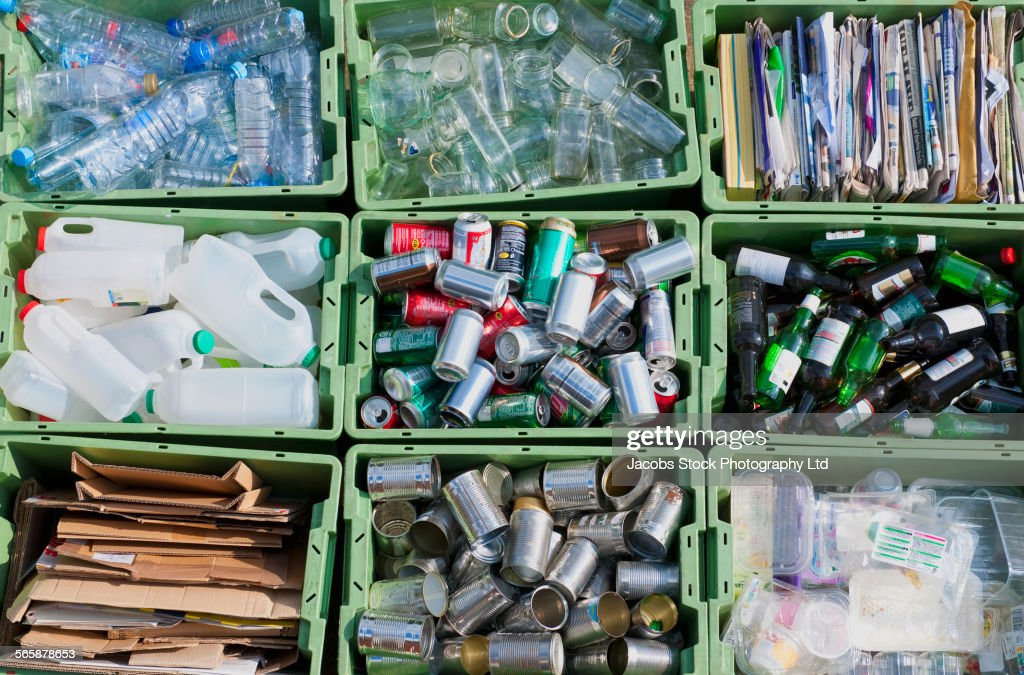 Close up of organized recycling bin : Stock Photo