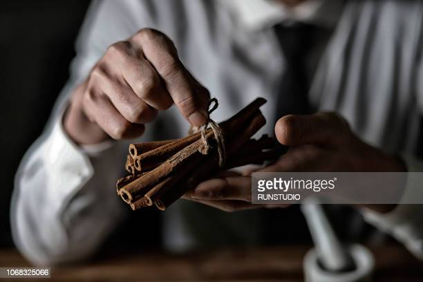 Close up of oriental medical doctor holding cinnamon