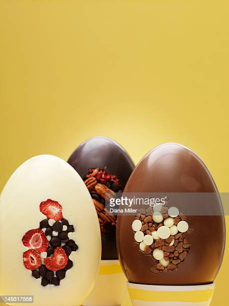 Close up of ornate chocolate eggs
