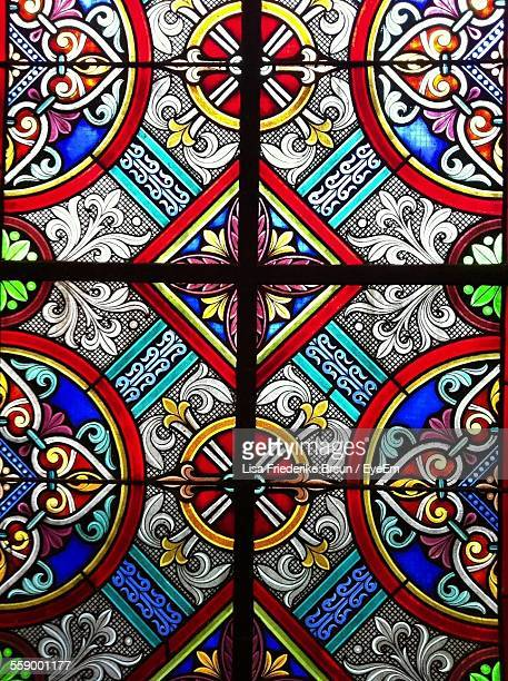 Close Up Of Ornate Stained Glass Window