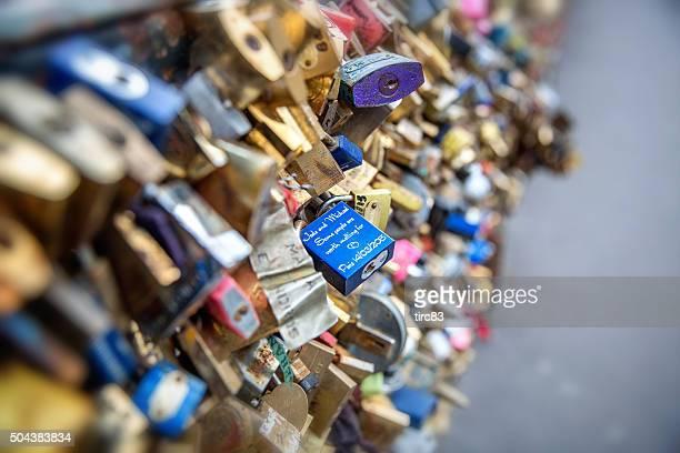 Close up of padlocks on Pont des Arts in Paris