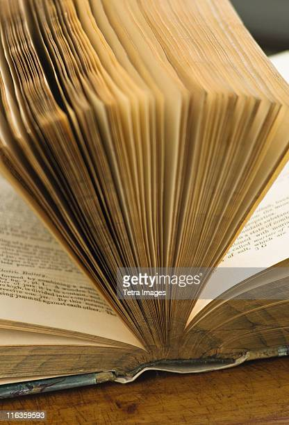 Close up of pages in antique open book