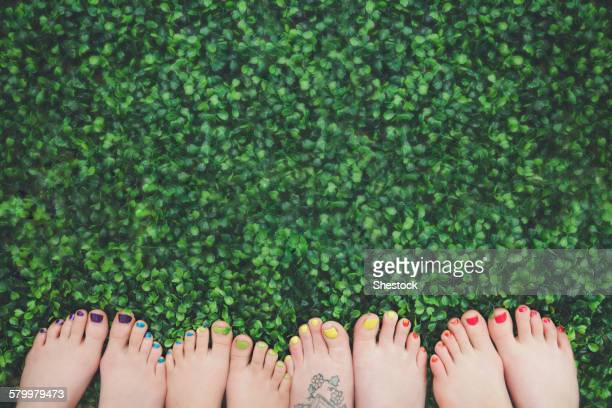 Close up of painted toenails or girls in grass