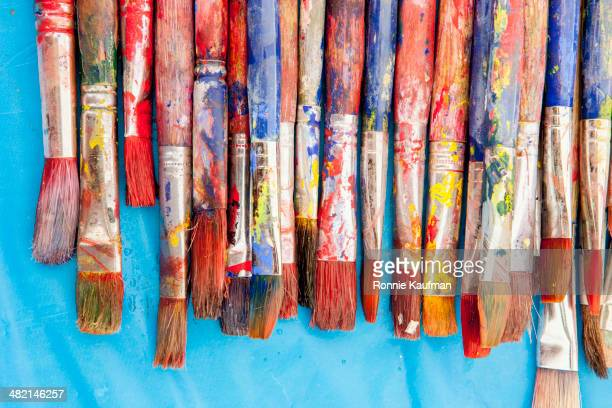 close up of painter's messy brushes - art and craft equipment stock pictures, royalty-free photos & images