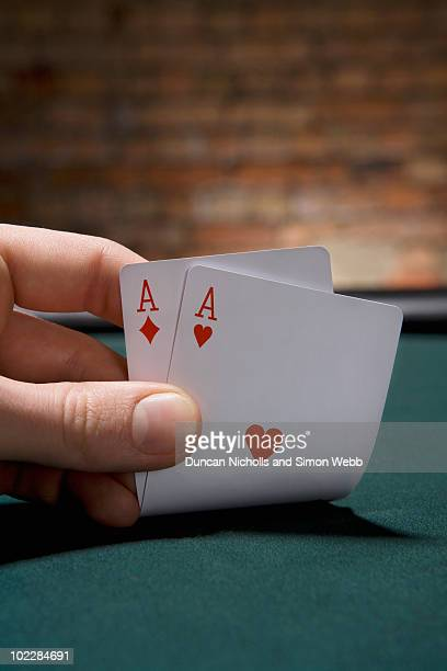close up of pair of aces in casino - pair stock pictures, royalty-free photos & images