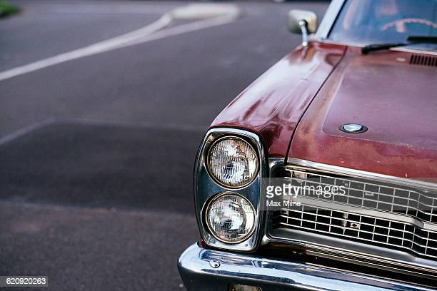 Close up of parked car headlights