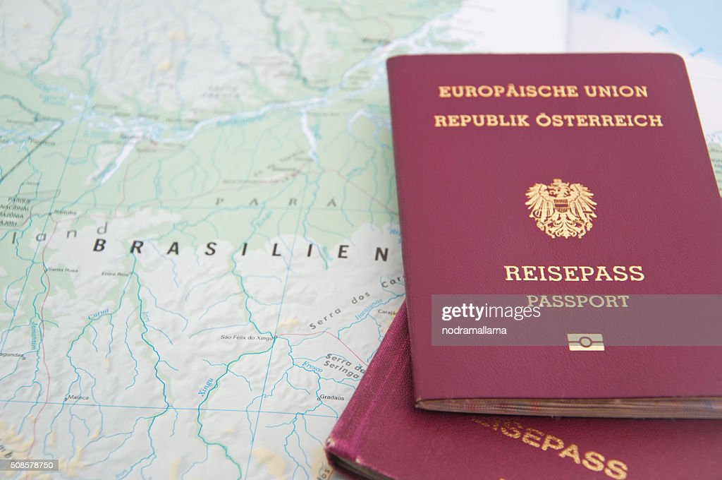Close Up of Passport and map of Brazil. : Bildbanksbilder