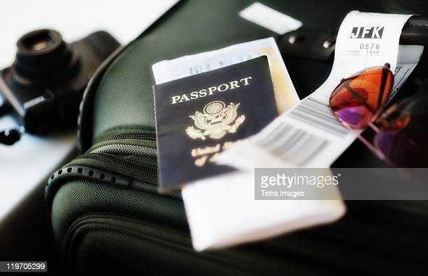 Close up of passport and travel accessories