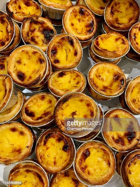 close up of pastel de nata, freshly baked portuguese custard tarts - traditionally portuguese stock pictures, royalty-free photos & images