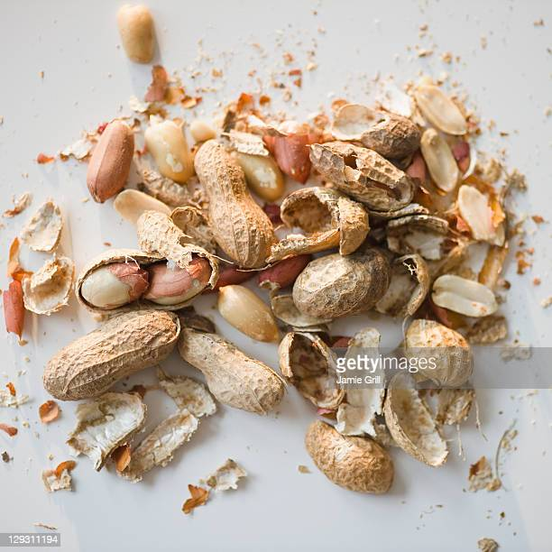 close up of peanuts - nutshell stock photos and pictures