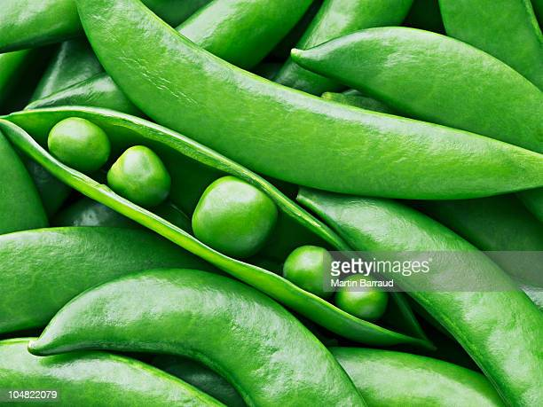 Close up of peas in pea pod