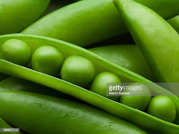 Close up of peas in pea pod