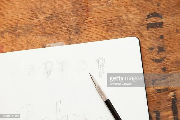 close up of pencil on sketch book - stefanie grewel stock-fotos und bilder