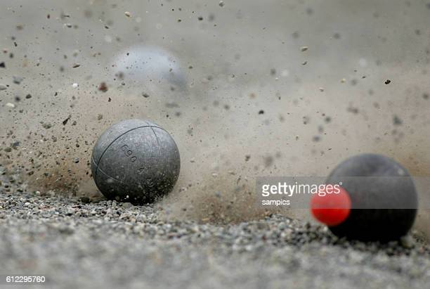 Close up of people playing Boule Petanque during the 2005 World Games held in Duisburg Germany