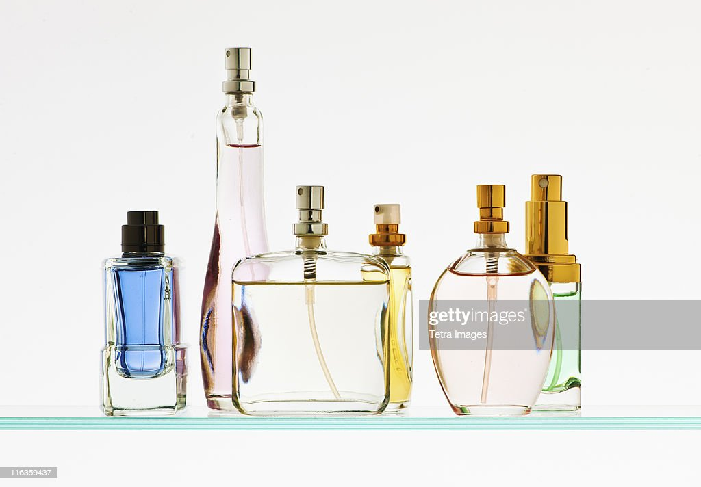 Close up of perfume sprayers : Stock Photo