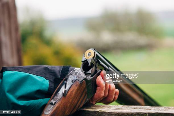 close up of person holding double barrel shotgun - gunman stock pictures, royalty-free photos & images